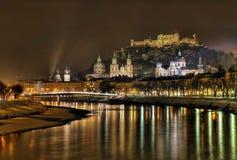 Salisburgo entro la notte Fotografia Stock Libera da Diritti