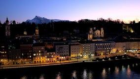 Salisburgo nella sera, Austria video d archivio