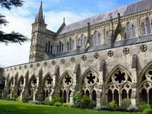 Salisbury atrium. This is from atrium of Salisbury cathedral, that is the most wonderfully and the biggest religion build of gothic England Royalty Free Stock Photo