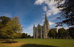 Salisbury cathedral. Taken on a early autumn afternoon stock photos