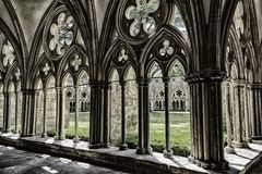 Salisbury Cathedral, magnificent geometric pattern of medieval art. Tracery on gothic style architecture in cloister courtyard.