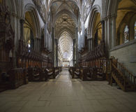 Salisbury Cathedral Choir Stalls and nave ceiling Royalty Free Stock Photography