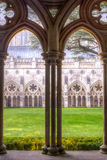 Salisbury Cathedral Cloisters Arches HDR. Photography Early English Gothic stock image