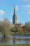 Salisbury Cathedral and Flooded Water Meadows, Wiltshire, England Stock Photo