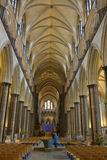 Salisbury cathedral nave and ceiling stock photos