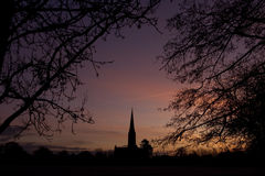 Salisbury cathedral silhouette Royalty Free Stock Photo