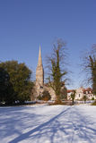 Salisbury cathedral snow Royalty Free Stock Images