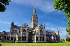 Salisbury Cathedral, In Spring Season, Salisbury, England. Salisbury Cathedral With Green Park In Spring Season, Salisbury, England stock photography
