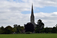 Salisbury Cathedral from Water Meadows, Wiltshire, England. Salisbury Cathedral from the ancient water meadows, Wiltshire, England. A pastoral scene painted by stock photos