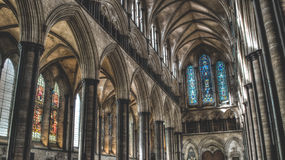 Salisbury Cathedral West Arches and Stained Glass HDR photograph Royalty Free Stock Image
