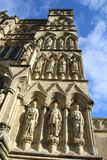 Salisbury cathedral in Wiltshire. Exterior view of Salisbury cathedral in Wiltshire, UK. This imposing building holds one of the 4 remaining copies of the Magna royalty free stock photos