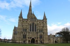 Salisbury cathedral in Wiltshire. Exterior view of Salisbury cathedral in Wiltshire, UK. This imposing building holds one of the 4 remaining copies of the Magna royalty free stock photo