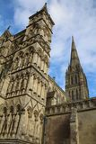 Salisbury cathedral in Wiltshire. Exterior view of Salisbury cathedral in Wiltshire, UK. This imposing building holds one of the 4 remaining copies of the Magna stock images