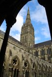 Salisbury cathedral in Wiltshire. Exterior view of Salisbury cathedral in Wiltshire, UK. This imposing building holds one of the 4 remaining copies of the Magna stock image