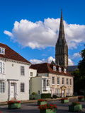 Salisbury Historic Buildings. Historic buildings and the cathedral spire in Salisbury. Wiltshire, England, UK stock photo