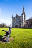 Salisbury katedra, Wiltshire, Anglia - frontowy szczegół z sławną iglicą zdjęcia royalty free