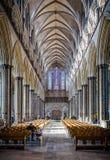 Salisbury Katedralna główna sala z witrażu nadokiennym odbiciem brać w Salisbury, Wiltshire, UK zdjęcia stock