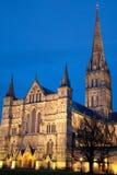 Salisbury-Kathedrale nachts Lizenzfreie Stockfotografie
