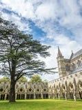 Salisbury-Kathedrale unter bewölktem Himmel stockfotos