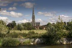 Salisbury-Kathedrale von der alten Mühle Harnam Salisbury Stockfotografie