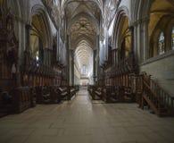 Salisbury-Kathedralen-Chor-Ställe und Kirchenschiffdecke Lizenzfreie Stockfotografie