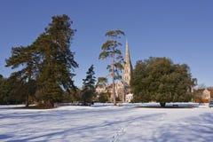 Salisbury-Kathedralenschnee Lizenzfreie Stockfotos