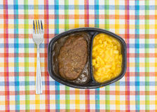 Salisbury steak meal with macaroni and cheese TV dinner Royalty Free Stock Images