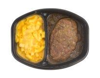 Salisbury stku posiłek z makaronowego i sera TV gościem restauracji zdjęcie stock