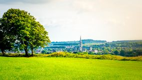 Cityscape of Salisbury with the cathedral from the Old Sarum in Salisbury, UK stock images