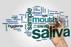 Saliva word cloud. Concept on grey background Stock Photo