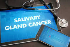 Salivary gland cancer (cancer type) diagnosis medical concept on. Tablet screen with stethoscope stock images