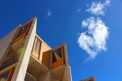 Salk Building under blue sky. The architecture landmark Salk Insititute cement building under the blue sky at La Jolla, San Diego stock images
