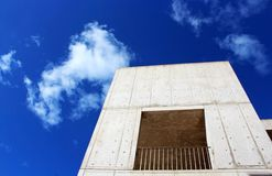 Salk Building under blue sky. The architecture landmark Salk Insititute cement building under the blue sky at La Jolla, San Diego Stock Photography