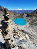 Salkantay mountain. Lake rocks landscape pond Royalty Free Stock Images