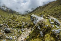 Salkantay Trekking Peru. The road to Machu Pichu Stock Photo
