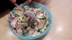 Sallad av ny gurkor, r?disor och dill kryddade med gr?ddfil i en plast- platta arkivfilmer