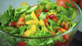 Sallad av nya grönsaker roterar i en cirkel lager videofilmer