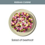 Sallad av rödbeta på plattan från rysk kokkonst stock illustrationer