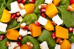 Sallad av spenatsidor, bakad pumpa- och fetaost med mandlar och granatäpplefrö som en bakgrund arkivbild