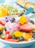 Sallad för ny frukt med skopor av glass Royaltyfria Foton