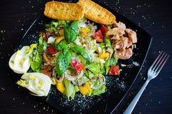 Sallad för ny grönsak med bröd, tonfisk och fänkål Arkivbild