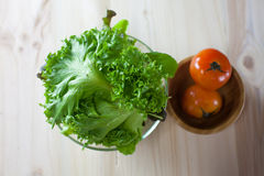 Sallad för ny grönsak med den gröna eken och tomaten som den är förberedda, innan att laga mat royaltyfria bilder
