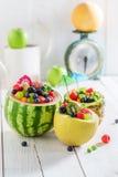 Sallad för nya frukter i ananas, melon och vattenmelon Royaltyfri Foto
