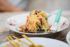 Sallad för papaya för SomTum thailändsk Royaltyfria Foton