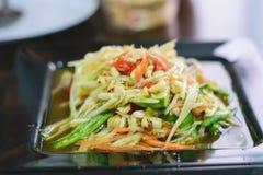 Sallad för papaya för SomTum thailändsk Fotografering för Bildbyråer