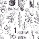 Sallad med arugula-, mozzarella- och tomatbakgrund vektor illustrationer