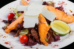 Sallad med den grillade laxen, parmesanost, tomater, blandade gräsplaner, grönsallat och limefrukt, royaltyfri bild