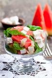 Sallad med den ny vattenmelon och feta med basilika- och spenatbetesmarken Fotografering för Bildbyråer