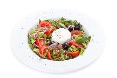 Sallad med grönsaker, oliv och ost Arkivfoton