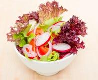 Sallad med grönsallat, tomaten och rädisan Arkivbilder